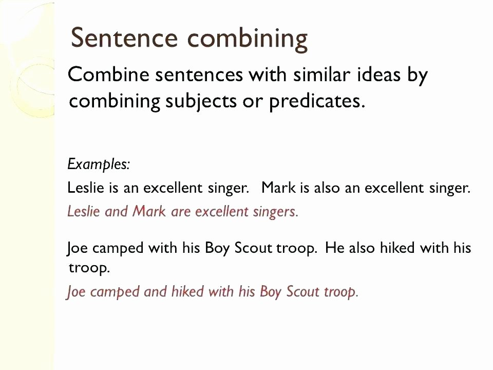 Combining Sentences Worksheet 5th Grade Bining Subjects Worksheets