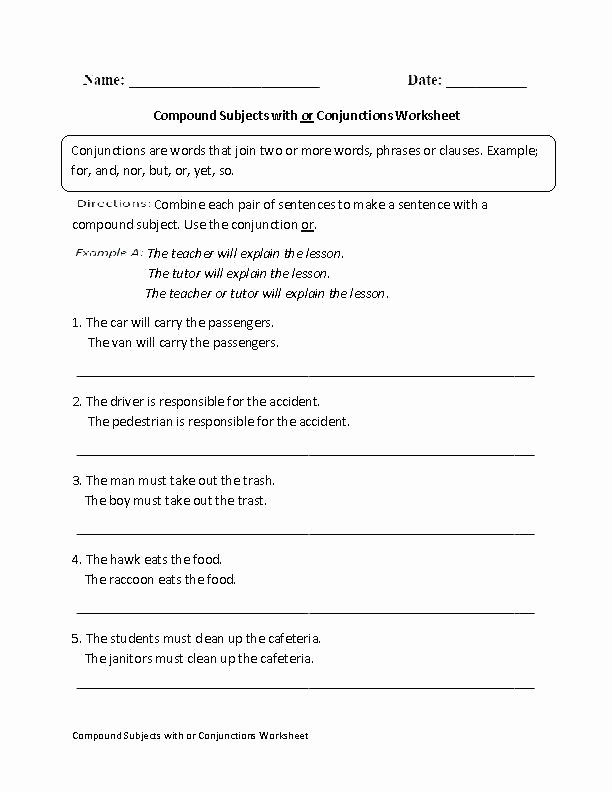 Combining Sentences Worksheet 5th Grade Conjunctions Worksheets 5th Grade Bining Sentences with