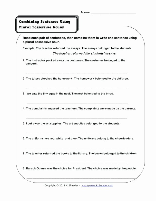 Combining Sentences Worksheet 5th Grade Plural Possessive Nouns Worksheets 3rd Grade