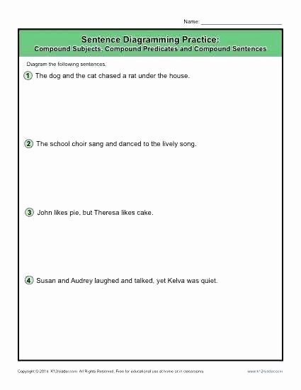 Combining Sentences Worksheet 5th Grade Sentence Diagrams Pound Subjects Predicates and Sentences