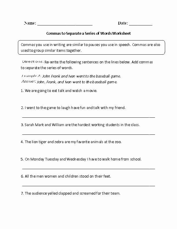 Comma Worksheet Middle School Pdf Adjectives Parison Adjectives Worksheets for Grade 2