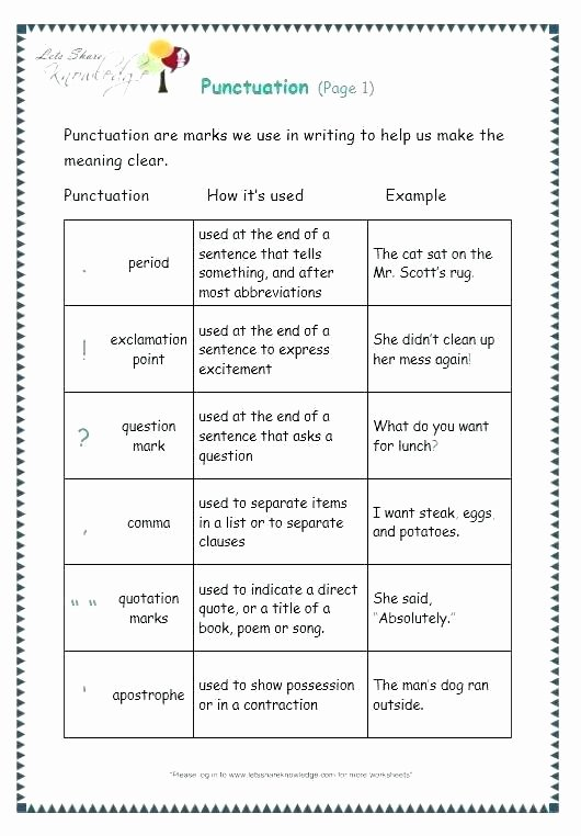 Comma Worksheet Middle School Pdf Free Printable Ending Punctuation Worksheet Activity