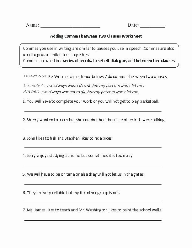Comma Worksheet Middle School Pdf Ma Worksheets 4th Grade