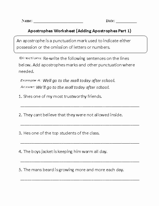 Comma Worksheets Middle School Ma Exercises Worksheets