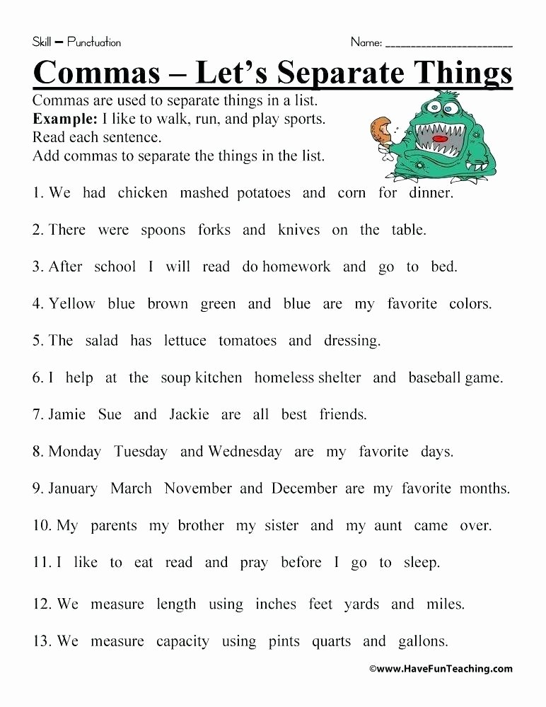 Comma Worksheets Middle School Punctuation Worksheets with Answers