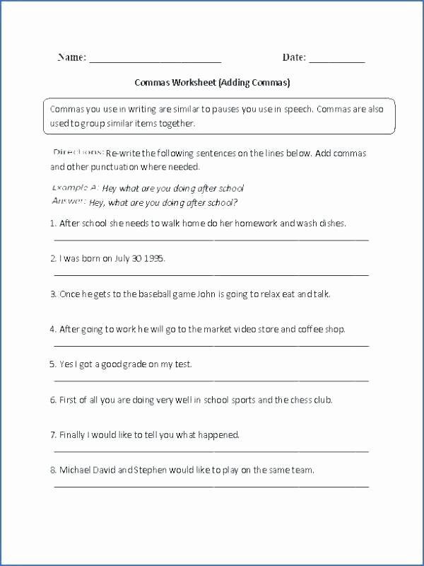 Commas Worksheet 3rd Grade Dialogue Worksheets