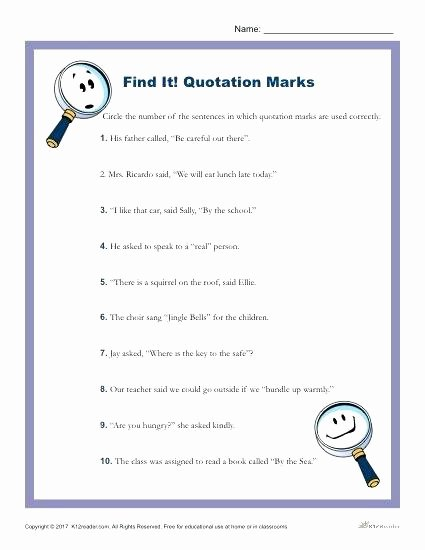 Commas Worksheet 3rd Grade Find It Quotation Marks In which these Sentences are Used