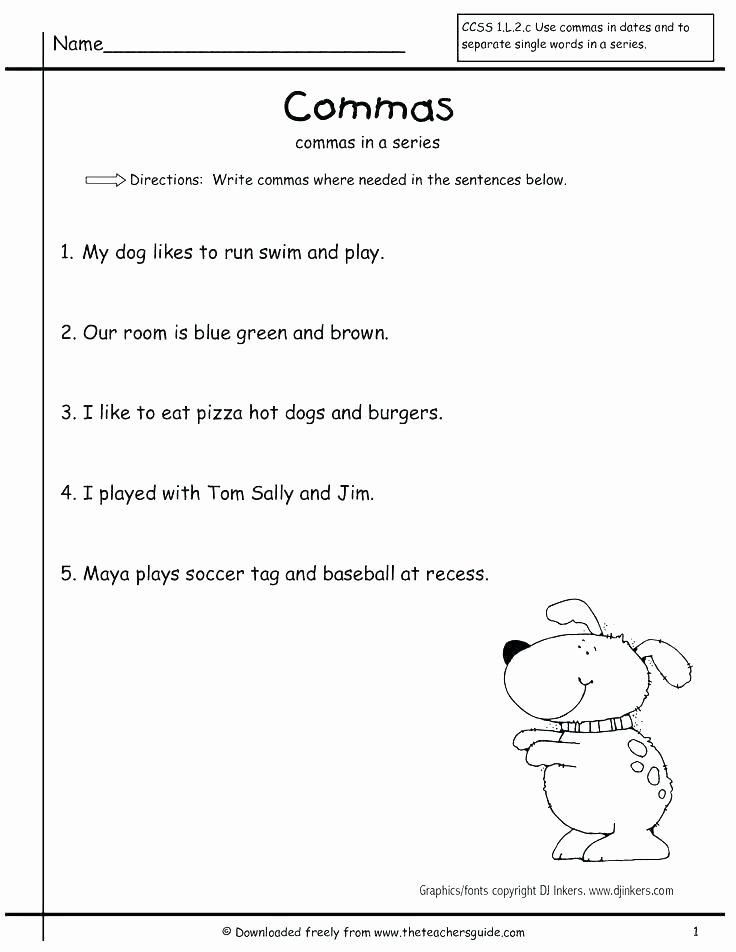 Commas Worksheet 3rd Grade Ma Worksheets High School Worksheet Punctuation Grade