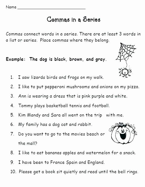 Commas Worksheet 3rd Grade Ma Worksheets Ma Worksheets High School Punctuation
