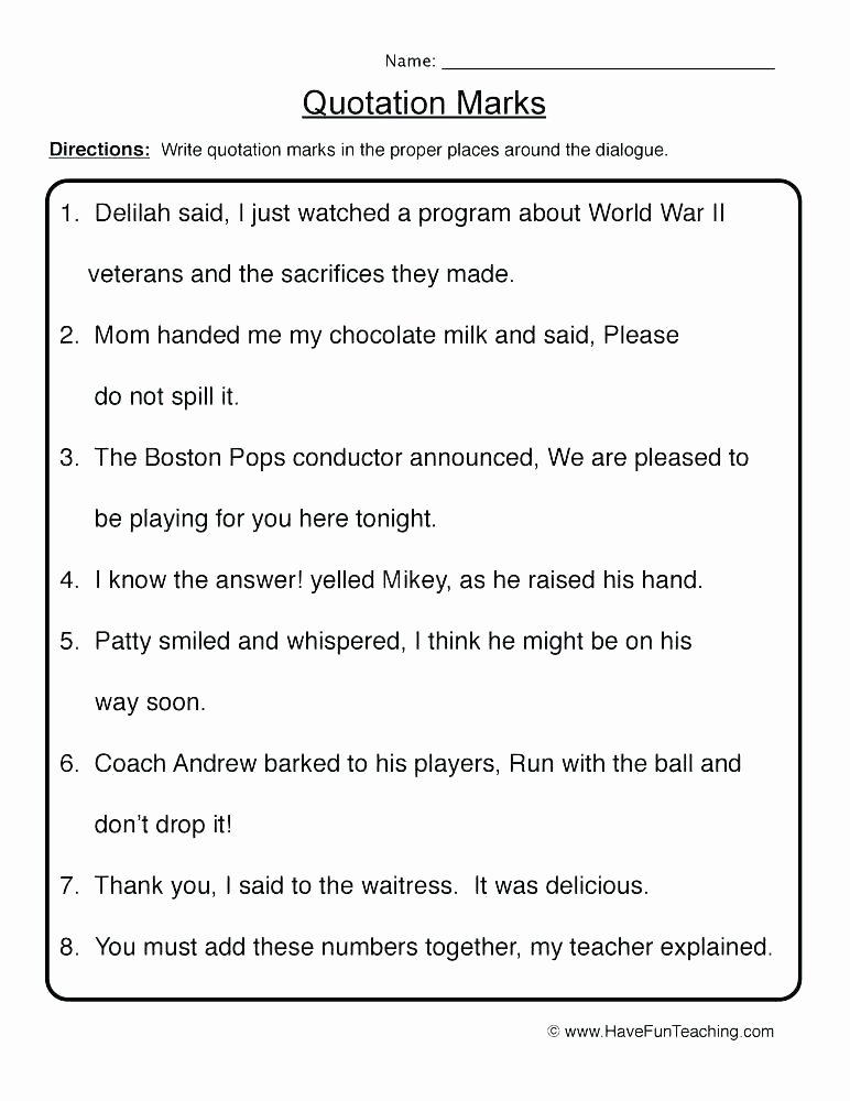 Commas Worksheet 3rd Grade Quotation Marks Worksheets 3rd Grade