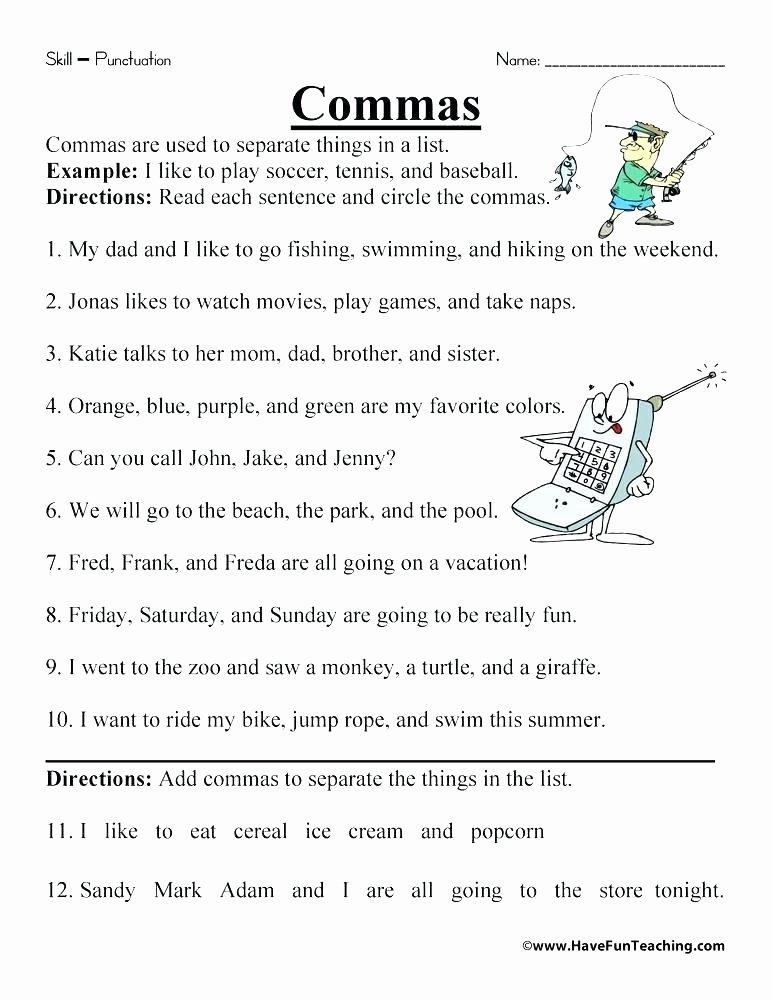 Commas Worksheet 3rd Grade Worksheets End Marks Punctuation Worksheet 1 Ending Grade 7