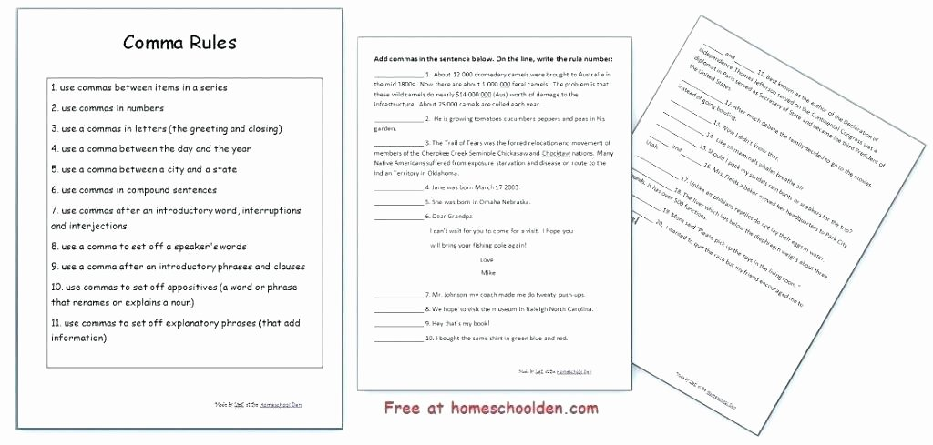 Commas Worksheet 4th Grade Grammar and Punctuation Worksheets Ma Worksheets High