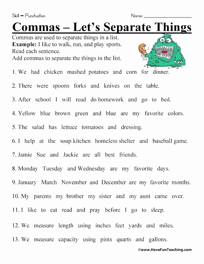 Commas Worksheet 4th Grade Punctuation Punctuation Worksheets for Grade 3 with Answers