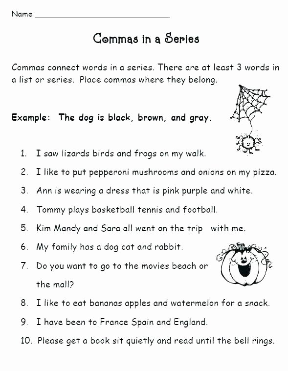 Commas Worksheet 5th Grade Ma Practice Worksheets High School