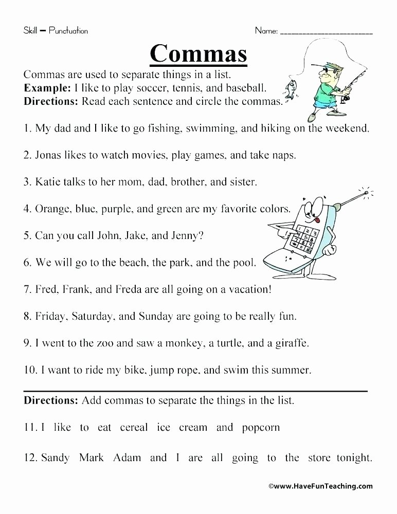 Commas Worksheet 5th Grade Punctuation Worksheets for Grade 5 Worksheet Fill In the