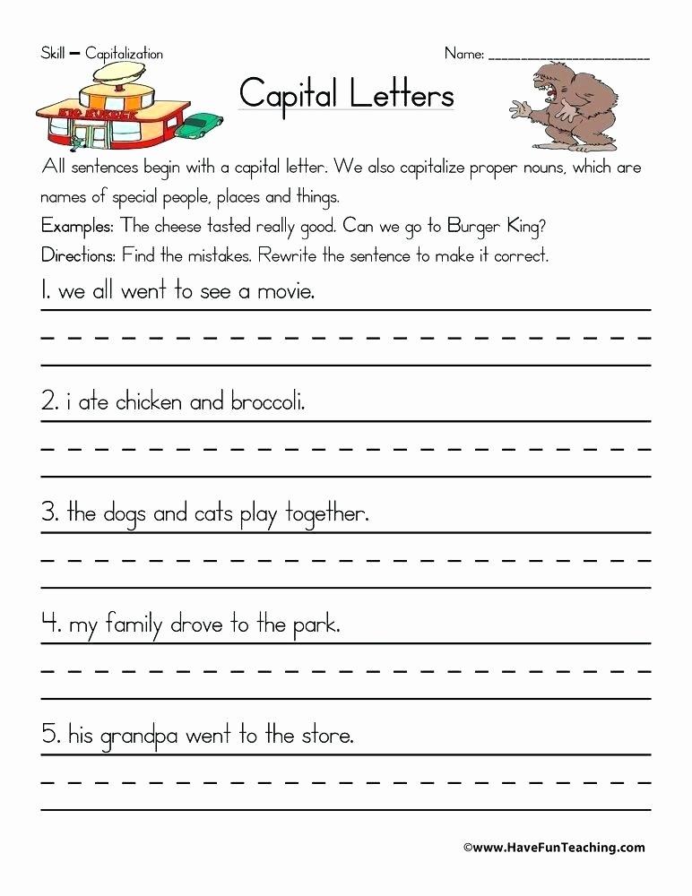 Commas Worksheets 5th Grade 5th Grade Capitalization Worksheets