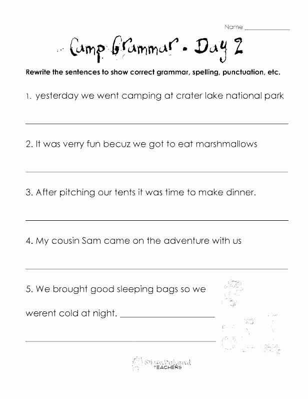 capitalization and punctuation worksheets for kindergarten free printable camp grammar days of