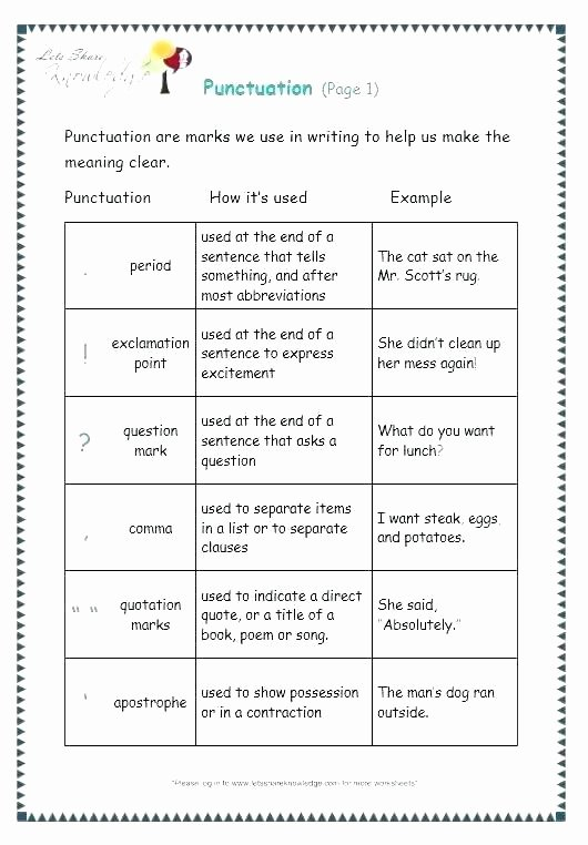 Commas Worksheets 5th Grade Punctuation Worksheets for Grade 1 Free Printable Grammar