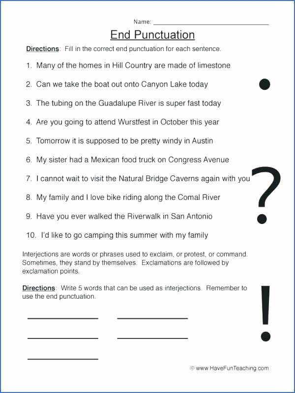Commas Worksheets 5th Grade Punctuation Worksheets for Grade 8 Capitalization and Ma