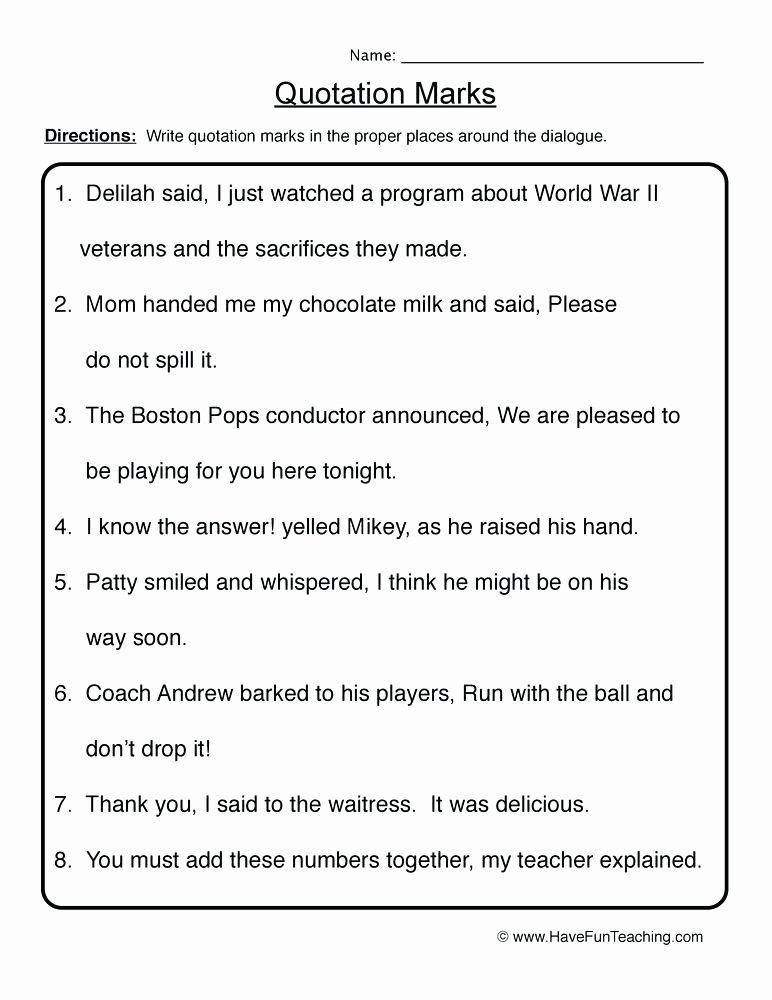 Commas Worksheets 5th Grade Resources Punctuation Worksheets Speech Marks Worksheet