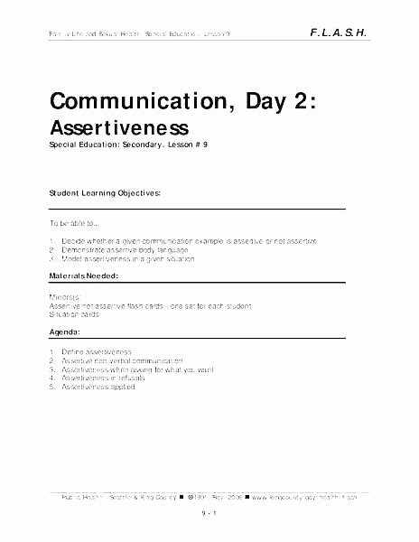Communication Worksheets for Adults Munication Worksheets Skills for assertive Pdf Family