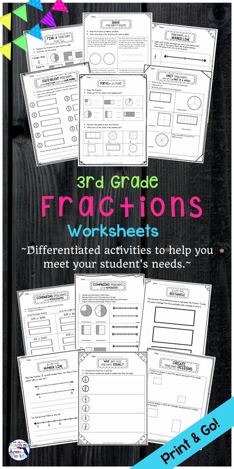 Comparing Fractions Third Grade Worksheet Fractions Worksheet Packet 3rd Grade
