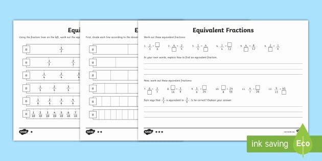 Comparing Fractions Worksheet 4th Grade Equivalent Fractions Worksheet Primary Resources