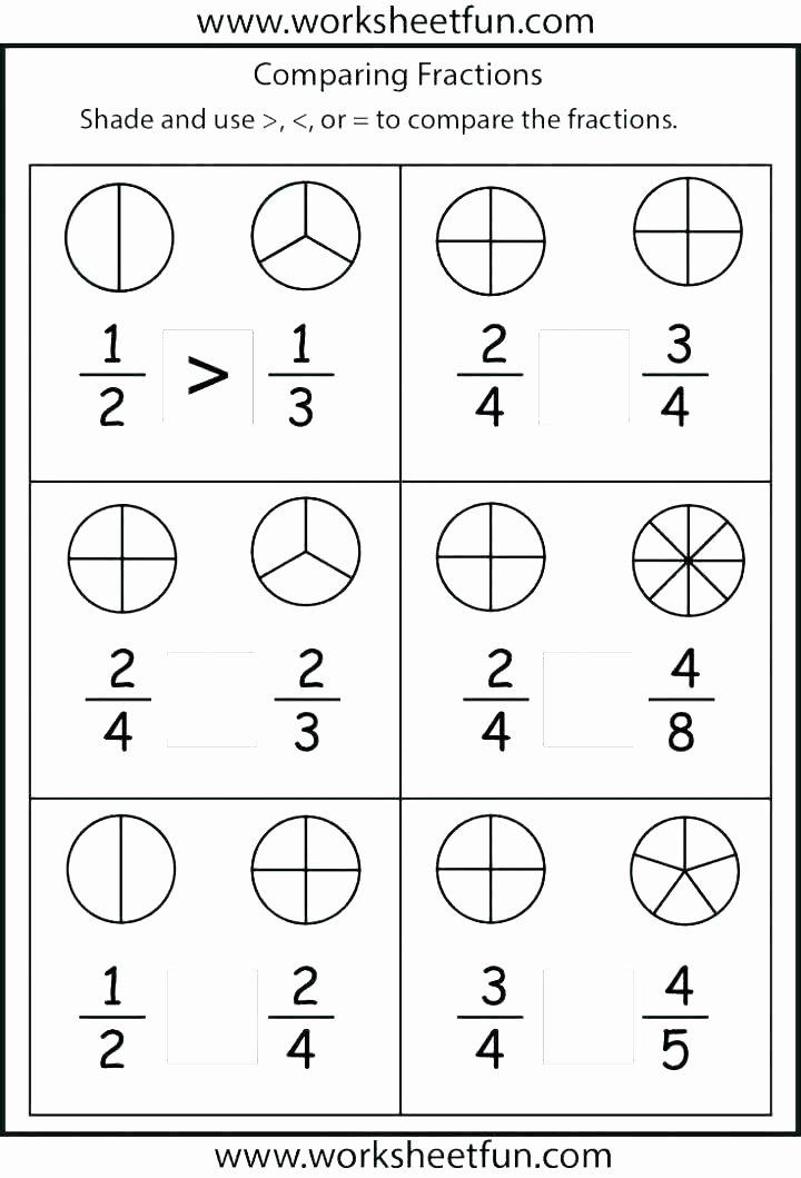 Comparing Fractions Worksheet 4th Grade Free Fraction Worksheets for Fourth Grade