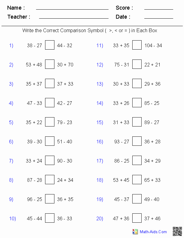 Comparing Numbers Worksheets 2nd Grade Greater Than Less Than Worksheets Math Aids