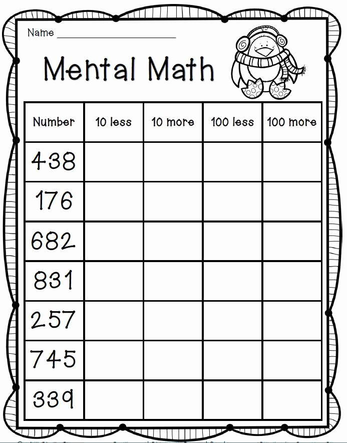 Comparing Numbers Worksheets 2nd Grade Mental Math Freebie 2nd Grade Math