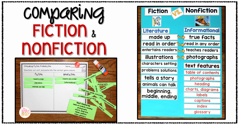 Comparison Shopping Worksheets for Students Fiction Vs Nonfiction Teaching Ideas Mrs Winter S Bliss