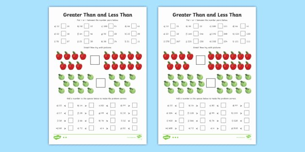 Comparison Shopping Worksheets for Students Greater Than and Less Than Worksheets Differentiated