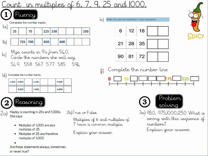 Comparison Shopping Worksheets for Students Place Value Count In Multiples Of 6 7 9 25 and 1000