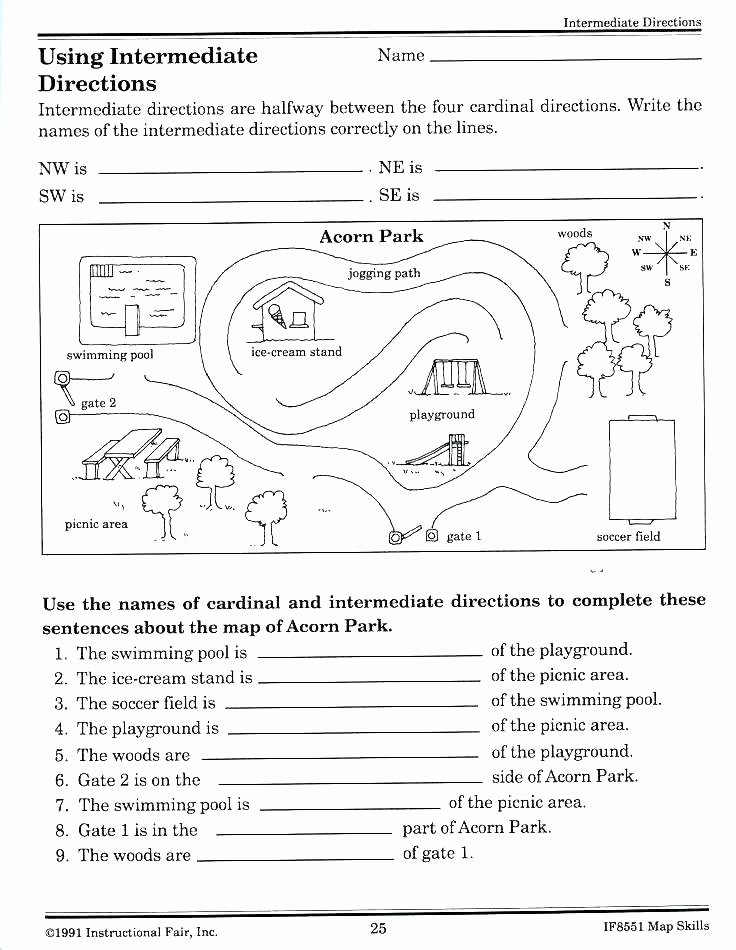 Compass Rose Worksheets Middle School Basic Map Skills Worksheets