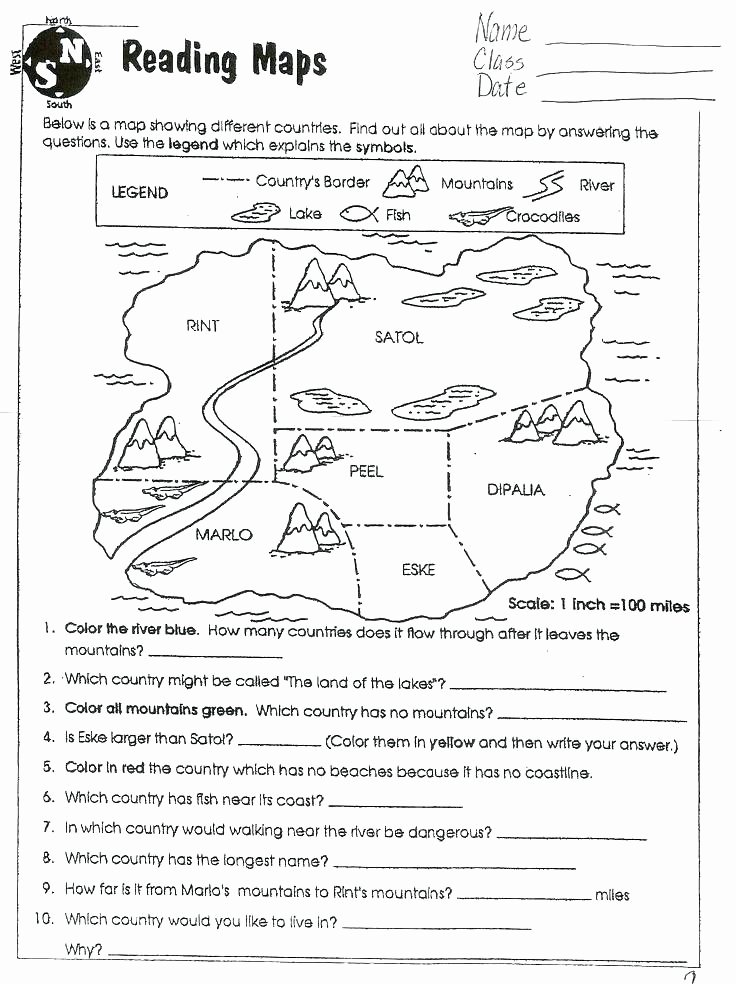 Compass Rose Worksheets Middle School Map Skills Worksheets