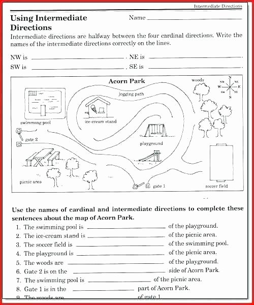 Compass Rose Worksheets Middle School Map Worksheets for 4th Grade
