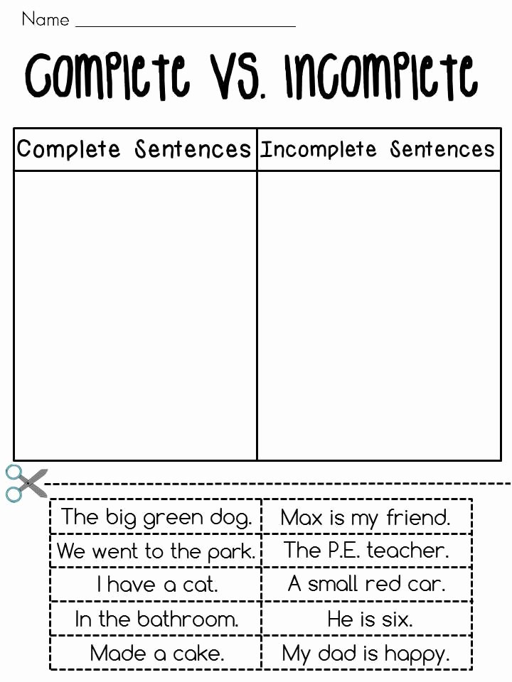 Complete and Incomplete Sentence Worksheets 3 Cut and Paste Plete Vs In Plete Sentences sort Fun