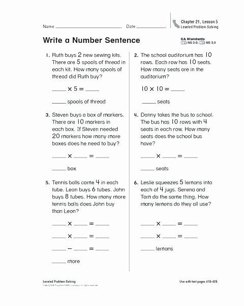 Complete Sentence Worksheet 3rd Grade Grade 2 Writing Sentences Worksheets Addition Number for All