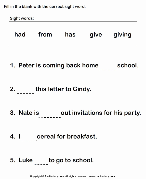 Complete Sentence Worksheets 1st Grade Fill In the Blanks Using Sight Words Turtlediary