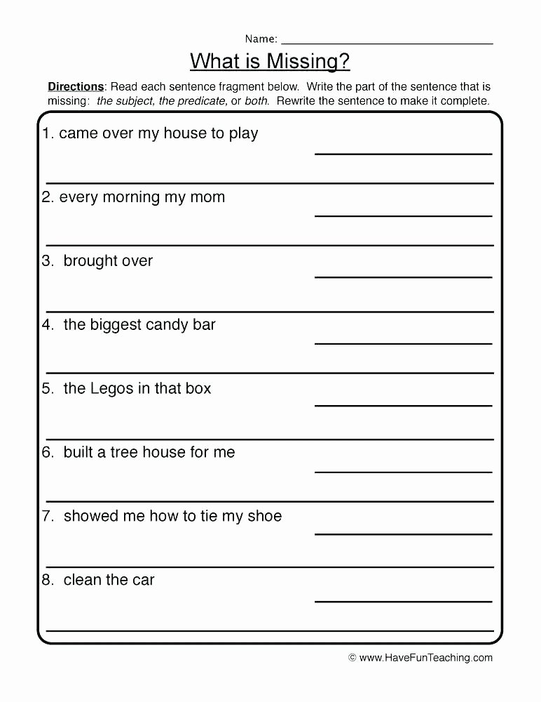 Complete Sentence Worksheets 3rd Grade Number Sentence Worksheets