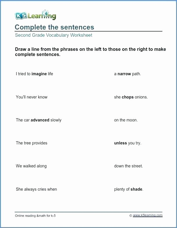 Complete Sentence Worksheets 3rd Grade Plete Sentence Worksheets Writing Sentences Grade Grammar