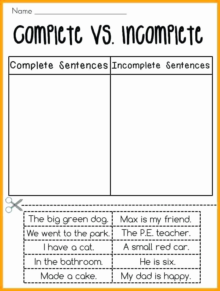 Complete Sentence Worksheets 3rd Grade Types Sentences Worksheet Second Grade Sentences