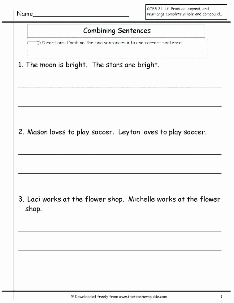 Complete Sentence Worksheets 4th Grade First Grade Sentence Writing Worksheets