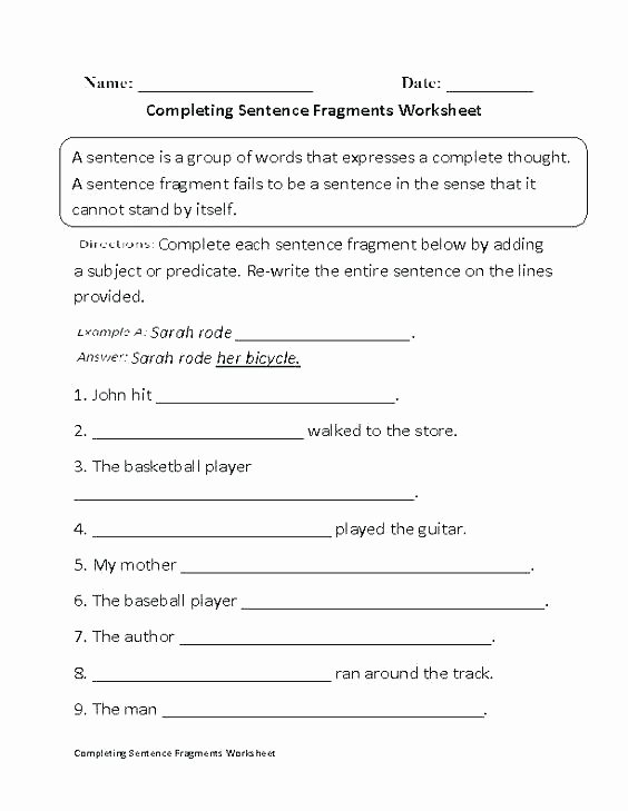 Complete Sentence Worksheets 4th Grade Plete Sentence Worksheets Grade Number Sentence