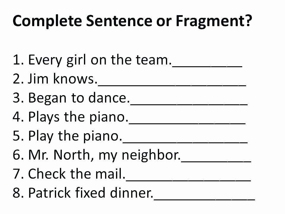 Complete Sentence Worksheets 4th Grade Plete Sentences Worksheets Grade Plete Sentence