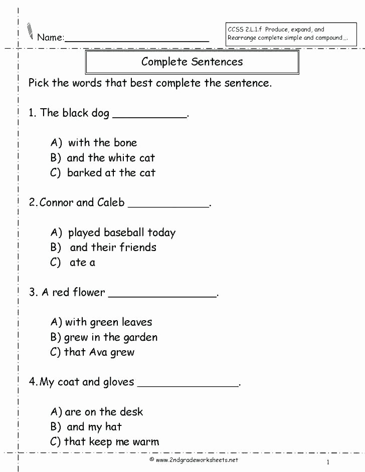 Complete Sentence Worksheets 4th Grade Pound Words Worksheets 4th Grade – Trungcollection