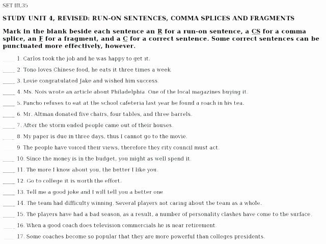Complete Sentences Worksheet 4th Grade Fragments and Run Worksheets I Fragment Sentence