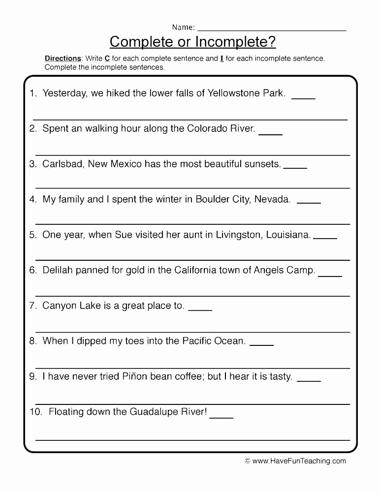 Complete Sentences Worksheet 4th Grade Number Sentence Worksheets 4th Grade – Ozerasansor