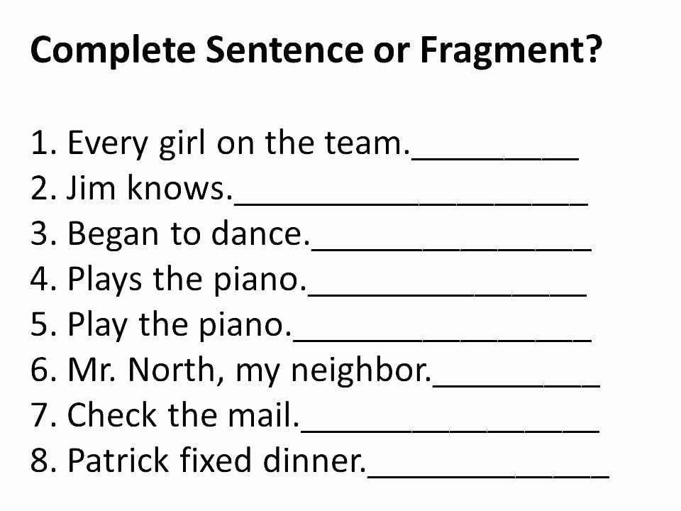 Complete Sentences Worksheet 4th Grade Plete Sentences Worksheets Grade Plete Sentence