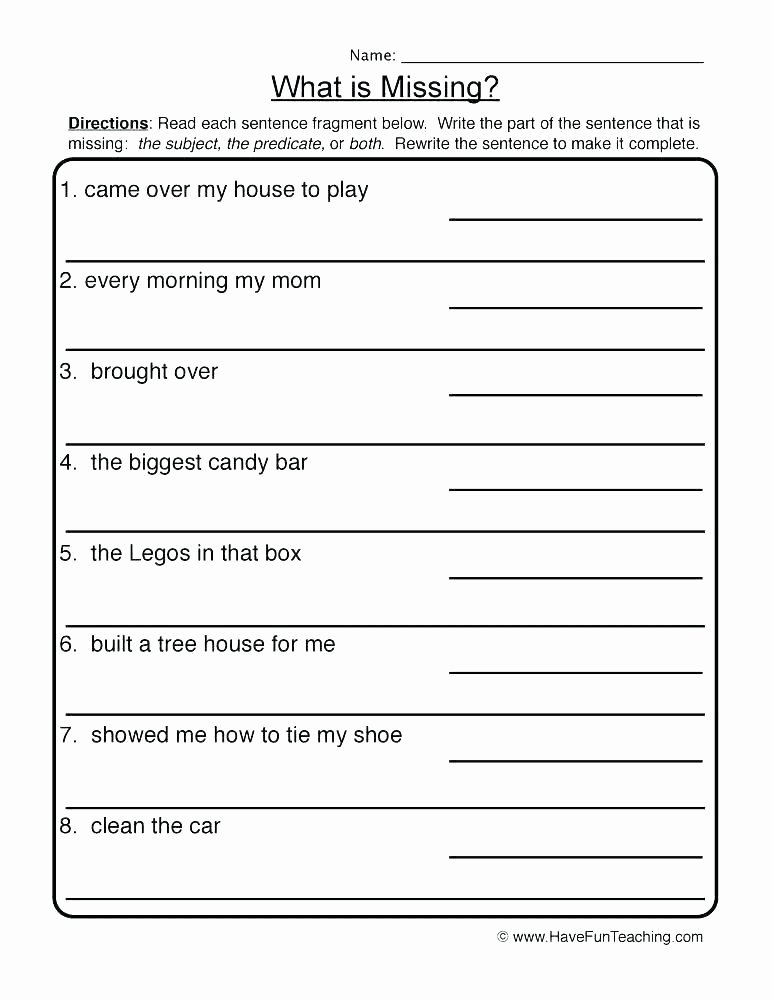 Complete Sentences Worksheets 1st Grade Plete Sentence Worksheets Grade Writing Sentences Writing
